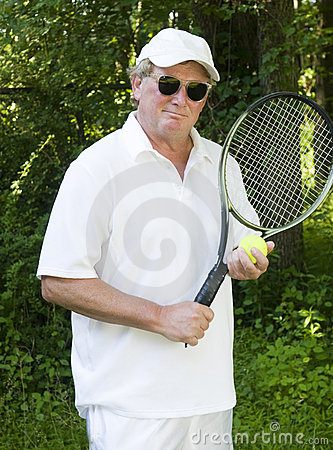 Middle age senior tennis player