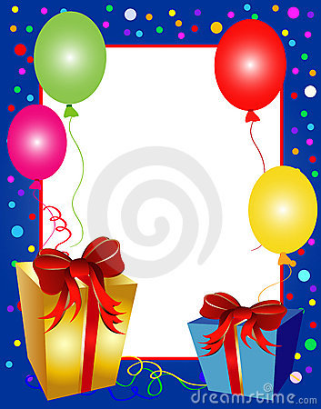 Colorful party background with balloons and presen