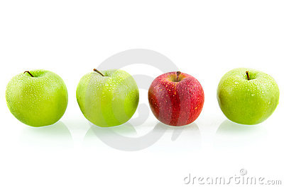 Three green apples with one red apple