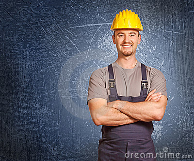 Handyman and grunge background
