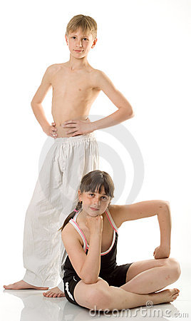 The boy and girl at sport