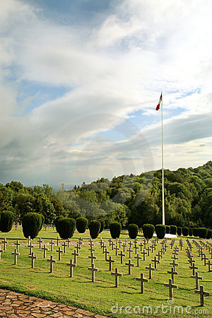 Rows of tombstones in a military graveyard