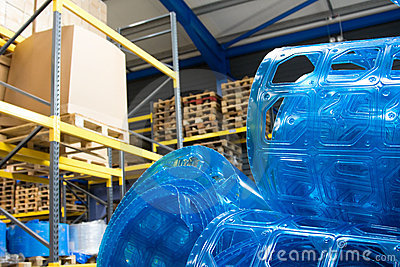 Plastic rolls in warehouse