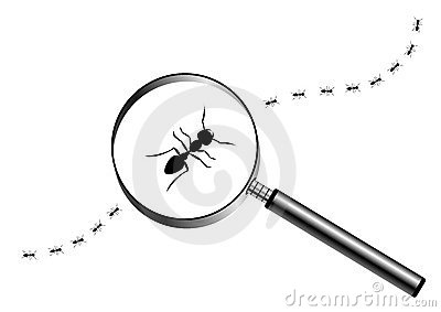 Magnifying glass with marching ants