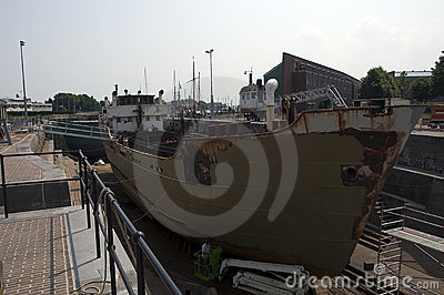 Old ship dry dock