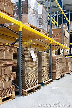 Shelves with cartons in warehouse
