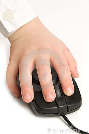 The liitle child hand on mouse