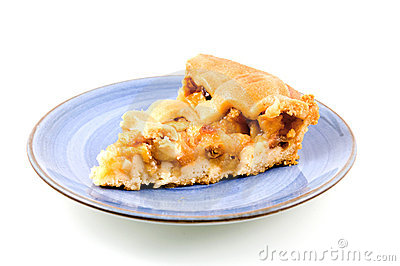 Piece of apple pie on blue plate