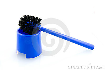 Blue toilet brush