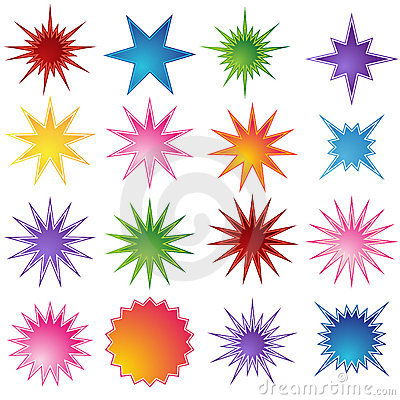 Set of 16 Starburst Shapes