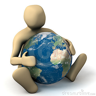 Person hugging a planet
