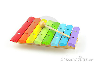 Colorful wooden xylophone with stick