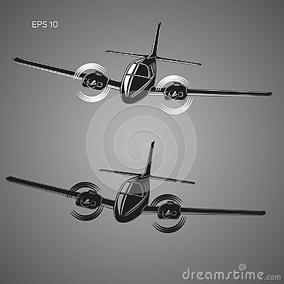 Small plane vector illustration. Twin engine propelled aircraft. Business trip aircraft.
