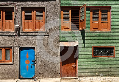 Colorful and graphic of traditional buildings in Srinagar , Kashmir