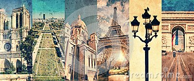 Paris France, panoramic photo collage vintage style, Paris landmarks travel tourism concept