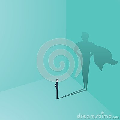 Businessman with superhero shadow vector concept. Business symbol of ambition, success, motivation, leadership, courage