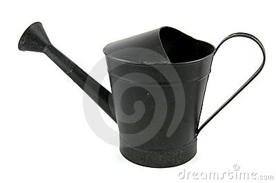 Black iron watering can