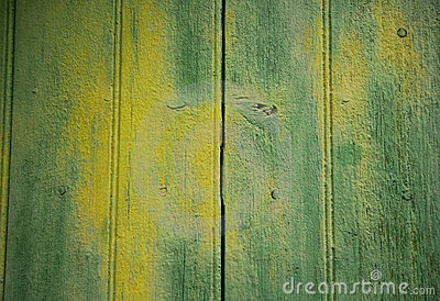 Background with yellow-green painted wooden door