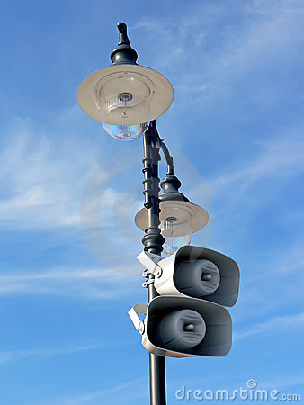 Lamppost with loud-speakers