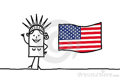 Liberty and USA flag