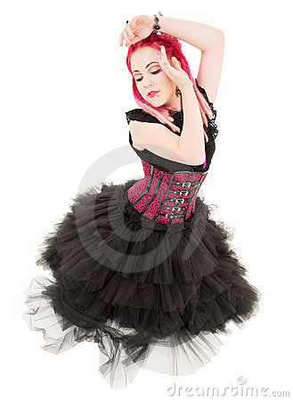 Dancing pink hair girl