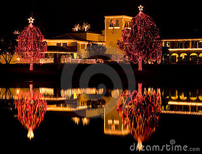 Christmas Lights Reflected In Lake