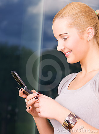 Lovely woman with cell phone