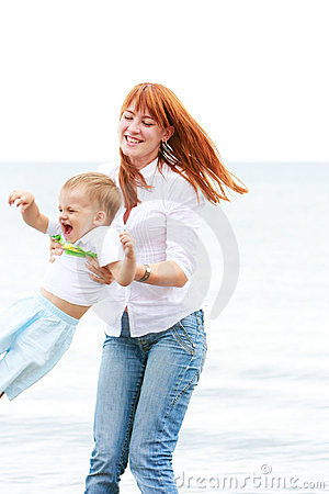 Mother and son on beach