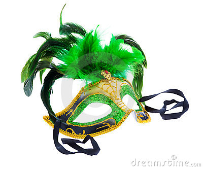 One green mask