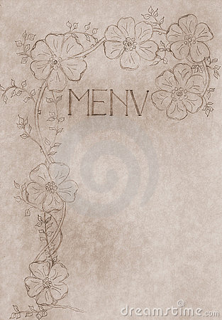Vintage hand drawn menu card cover