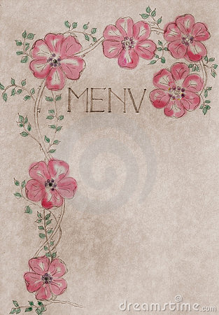 Vintage hand drawn menu card cover, artwork