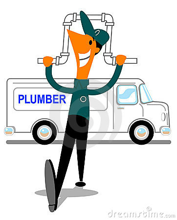 Happy plumber with pipe and van