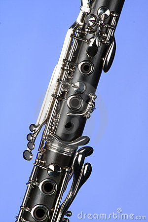 Clarinet Close Isolated  On Light Blue