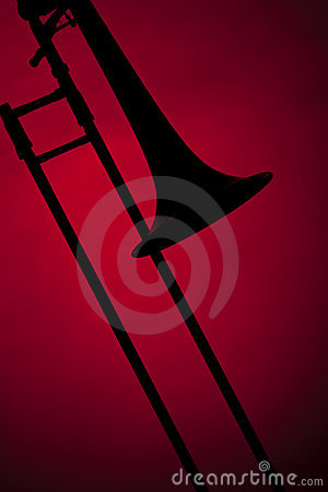 Trombone Silhouette Isolated on Red