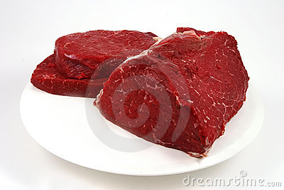 Raw meat on white dish
