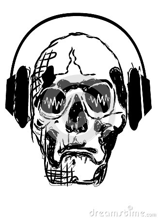 Skull in headphones