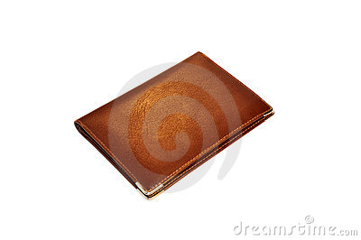Isolated brown leather wallet