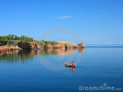 Canoe on lake Superior