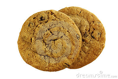 Two oatmeal raisin cookies