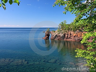 Lake Superior coastline with arch
