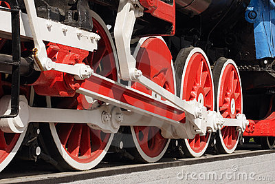 Wheels of a steam locomotive