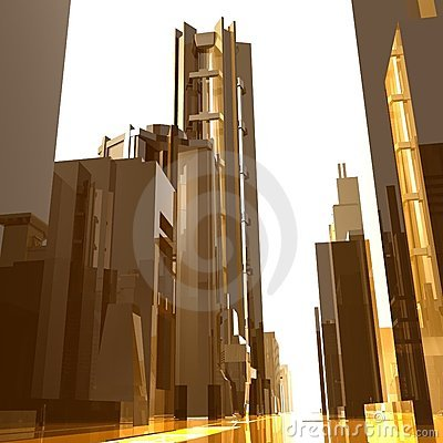 Futuristic  city buildings background
