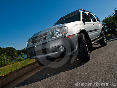 Silver Sports Utility Vehicle low angle