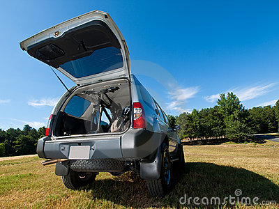 Silver Sports Utility Vehicle hatch open