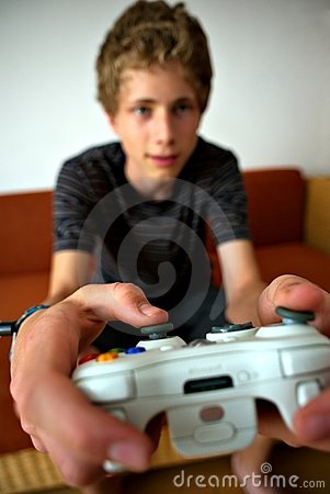 Video game player wide focused on controller