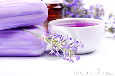 Lavender plant with soap and herbal extract