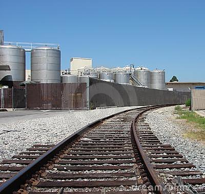 Rail tracks leading to Industrial plant