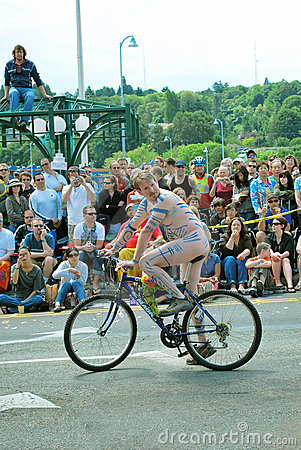 Nude men on the bicycle from  Freemont parade
