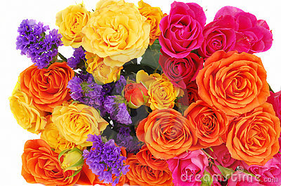 Color roses bouquet isolated