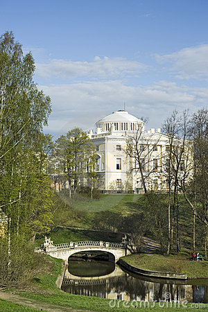 View of classical palace and bridge